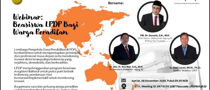 Mahkamah Agung Adakan Webinar: Beasiswa LPDP Untuk Warga Peradilan